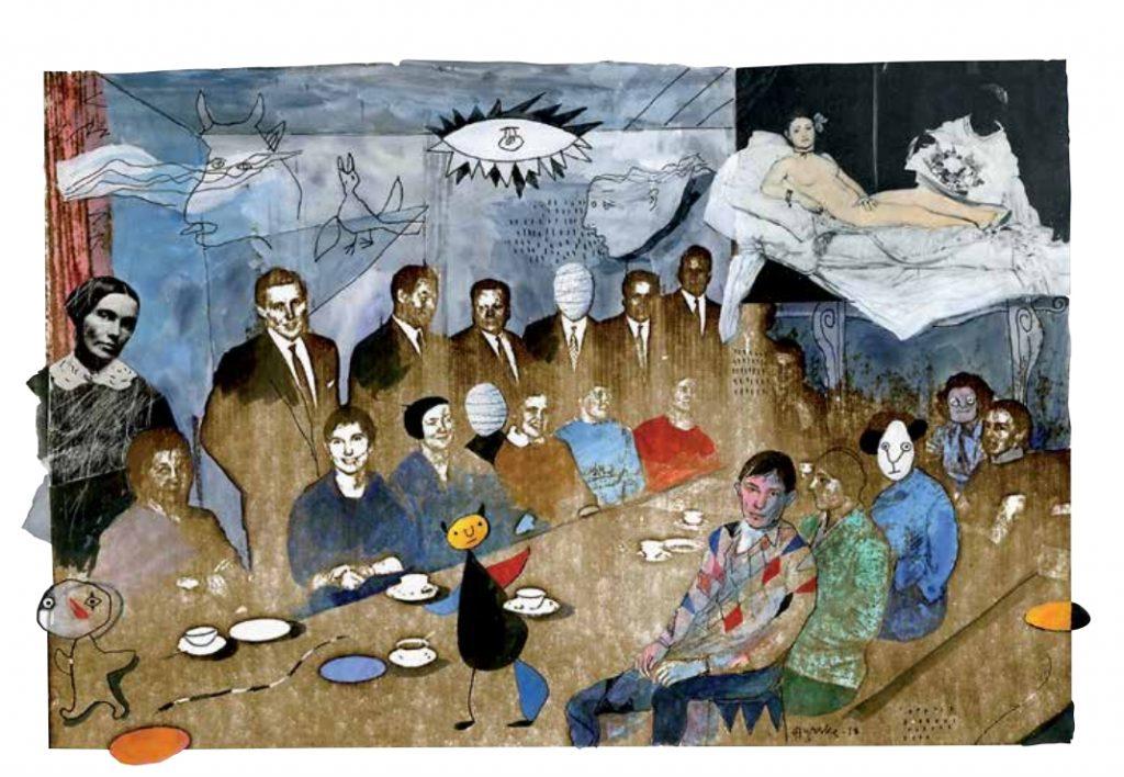 Taiteilijoiden kahvihetki, sekatekniikka, 2018, 42 x 48 cm